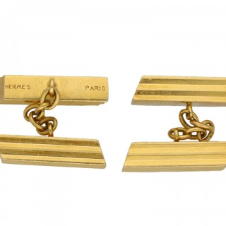 Vintage Hermes gold cufflinks, French, circa 1970.