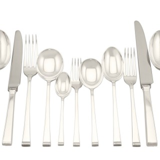 Sterling Silver Canteen of Cutlery for Eight Persons - Art Deco Style - Vintage (1956)