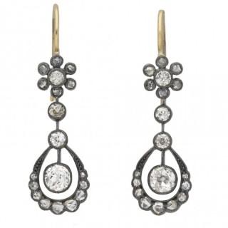 Victorian diamond drop earrings, circa 1880.