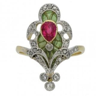 Art Nouveau ruby, diamond and plique-à-jour enamel ring, French, circa 1890.