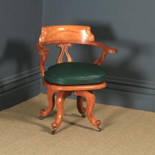 Antique English Victorian Birch & Green Leather Revolving Office Desk Arm Chair (Circa 1880)
