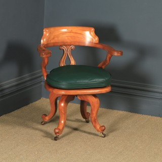 Antique English Victorian Birch & Green Leather Revolving Office Desk Arm Chair (Circa 1880)
