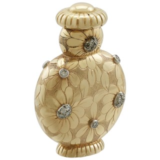 French 18 ct Yellow Gold and Diamond Scent Bottle by Van Cleefe & Arpels - Vintage Circa 1950