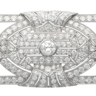 8.13ct Diamond and Platinum Brooch - Art Deco - Antique Circa 1935