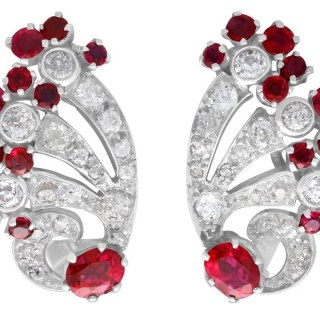 3.02ct Burmese Ruby and 2.10ct Diamond, Platinum and 9ct White Gold Earrings - Antique Circa 1930
