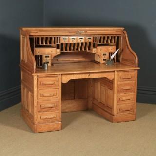 Large Antique English Edwardian 5ft Oak Roll Top Pedestal Office Writing Desk (Circa 1910)