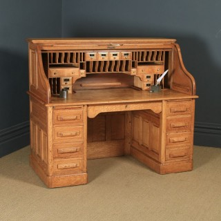 Large Antique English Edwardian 5ft Oak Roll Top Pedestal Office Writing Desk (Circa 1910)