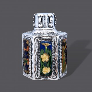 Ramsden and Carr silver and  enamel art nouveau tea caddy