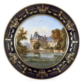 Antique 19th Century Circular Sèvres Porcelain Plate Depicting Château de Coulaine