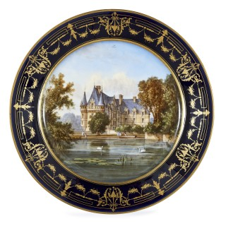 Antique 19th Century Circular Sèvres Porcelain Plate Depicting Château de Coulaine