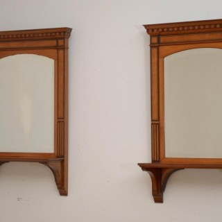Pair of Late Victorian Wall Mirrors in Satinwood