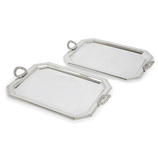 Pair of Fine Silver-Plate Trays by Lebanese Firm Habis