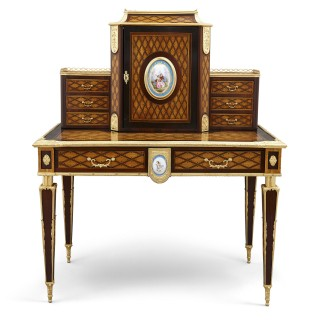 Antique Neoclassical Style Writing Desk with Porcelain Mounts by Donald Ross