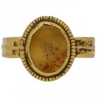Ancient Roman Cupid intaglio ring, circa 2nd century AD.