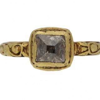 Tudor table cut diamond ring, circa 16th century.