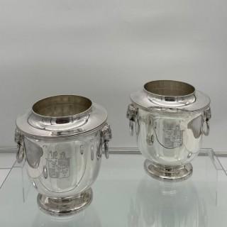 Antique George III Sterling Silver Pair Wine Coolers London 1814 John Houle
