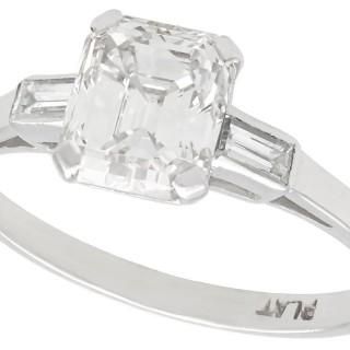 1.11 ct Diamond and Platinum Solitaire Ring - Antique Circa 1935