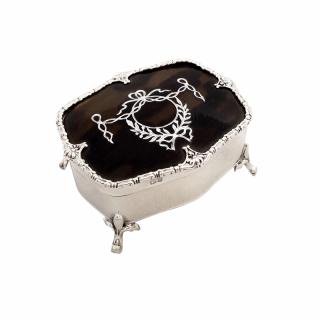 Antique Edwardian Sterling Silver & Tortoiseshell Trinket Box 1909