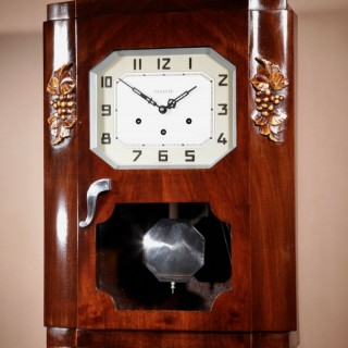 An Art Deco Westminster Vedette Carillon Walnut Wall Clock French circa 1935