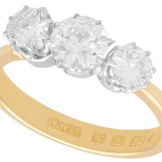 1.70ct Diamond and 18ct Yellow Gold, Trilogy Ring - Antique Victorian (1876)