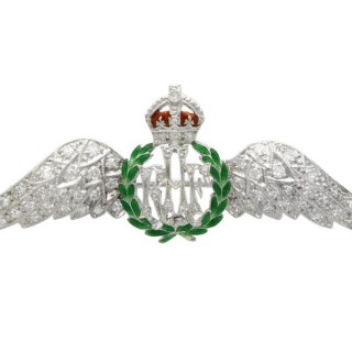 0.65 ct Diamond and Enamel, 9 ct White Gold RAF Sweetheart Brooch - Antique Circa 1935