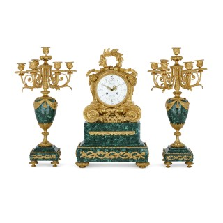 Antique Parisian Mantel Clock and Candelabra Set by Denière et Fils