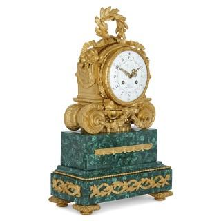 Antique Parisian Mantel Clock and Candelabra Set by Denière et Fils