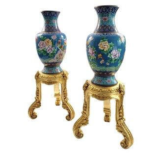 LARGE PAIR OF CHINESE CLOISONNÉ ENAMEL VASES