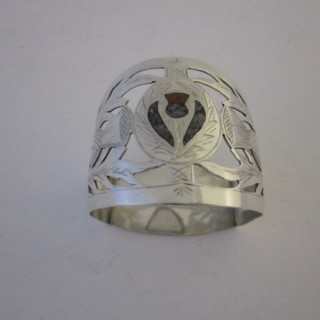Antique Sterling Silver & Agate Napkin Ring - 1923