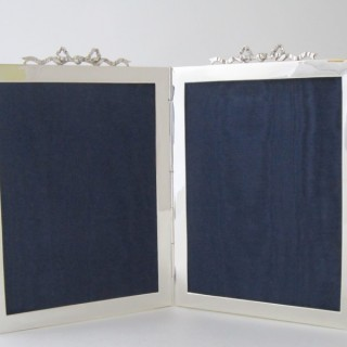 Antique Edwardian Sterling Silver Double Photograph Frame - 1904