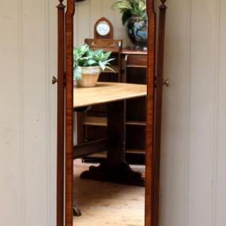 Walnut Queen Anne Style Cheval Mirror