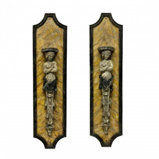 A PAIR OF LARGE FAUX MARBLE WALL BRACKETS