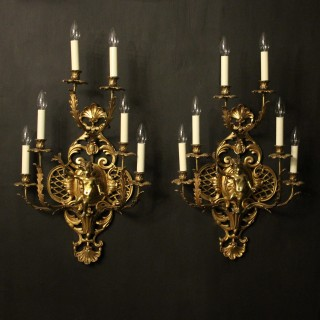 French Pair Of Cherub Gilded Brass Wall Lights