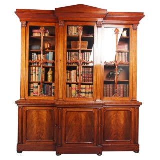 Antique George IV Mahogany Breakfront Library Bookcase