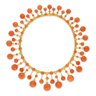 Magnificent Victorian Antique Gold and Coral Fringe Necklace circa 1860