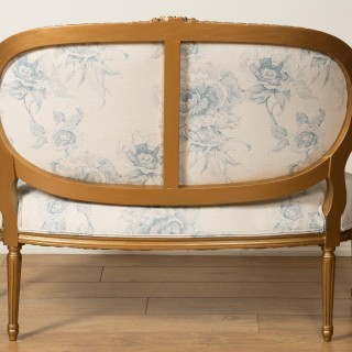 French Gilt Wood Two Seat Settee