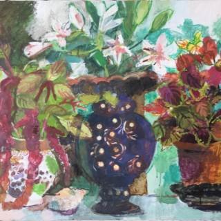 'Amaranthus, Coleus & Lilies' by Helen Riches (born 1961)