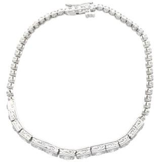 5.13 ct Diamond, 14 ct and 9 ct White Gold Bracelet - Antique Circa 1910
