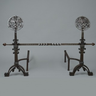 A rare pair of 'Cotswold school' Thornton & Downer wrought iron andironsA rare pair of 'Cotswold school' Thornton & Downer wrought iron andirons