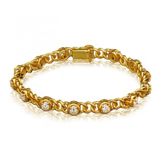 A Pair of Vintage French Gold and Diamond Bracelets by Van Cleef & Arpels c.1970s