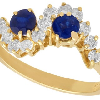 0.52ct Sapphire and 0.39ct Diamond, 18ct Yellow Gold Twist Ring - Vintage Circa 1990