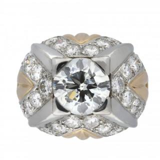 Diamond bombé cocktail ring, French, circa 1950.
