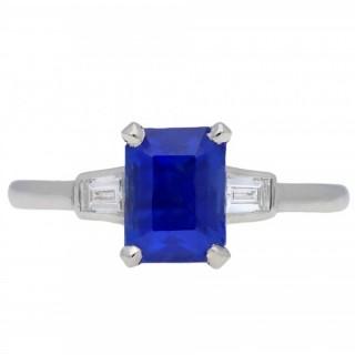 Art Deco Ceylon sapphire and diamond ring, circa 1925.