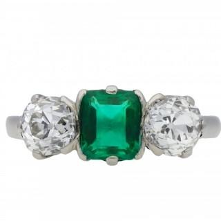 Colombian emerald and diamond three stone ring, circa 1920.