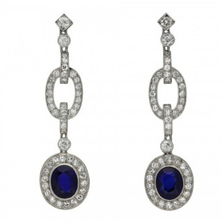 Sapphire and diamond drop earrings, circa 1925.
