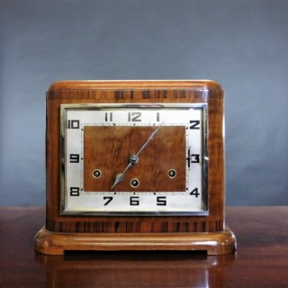 Art Deco Walnut 'Cubist' Mantel Clock