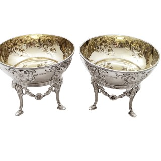 Pair of Antique Edwardian Sterling Silver Bowls/Dishes on Stands 1901
