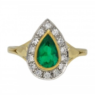 Emerald and diamond cluster ring, English, circa 1915.