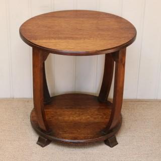 Art Deco Low Oak Circular Table