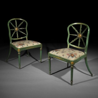 Set of Eight George III Green Japanned Chairs